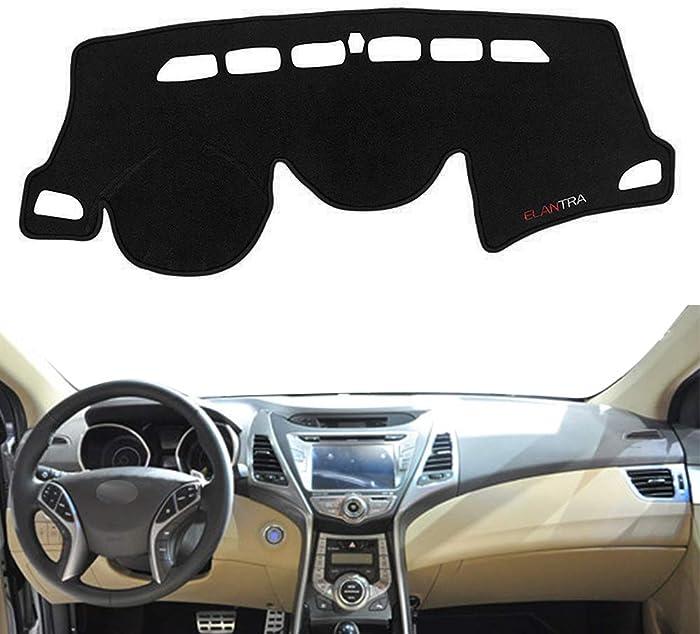 Yeeoy Black Dash Cover Mat Replacement for Hyundai Avante (Elantra) 2012 2013 2014 2015 2016