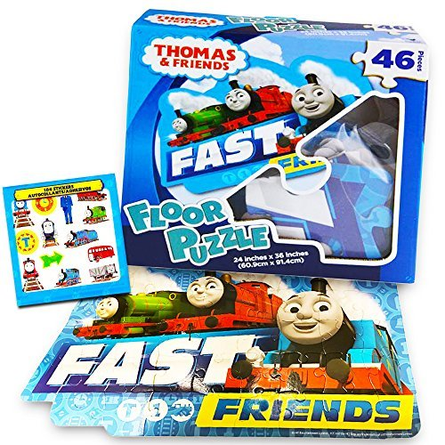 (Thomas the Train Floor Puzzle Set -- Giant Puzzle and over 100 Thomas and Friends Reward Stickers for Kids Toddlers (3 Foot, 46 Pieces))