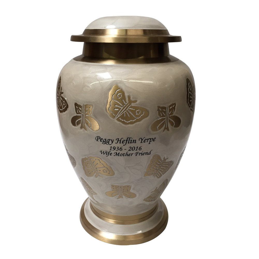 NWA Adult Human Cremation Urn, Pearl White and Gold Butterfly Funeral Urns with Personalization, and Velvet Bag