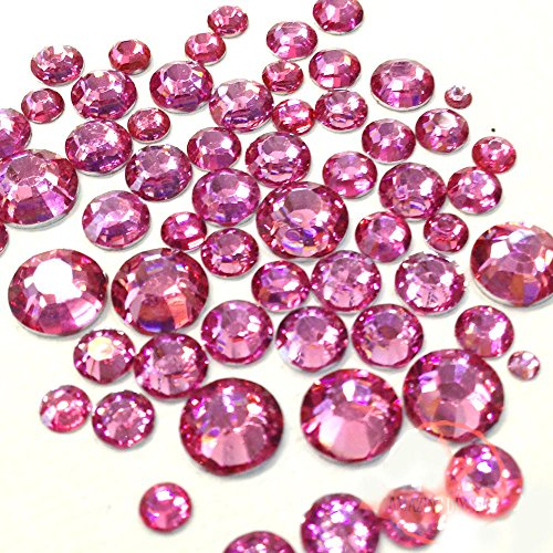 400 pcs 2mm - 6mm Resin Rose Pink round Rhinestones Flatback Mix SIZE 14-facet (High Quality) ()