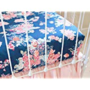 Navy Floral Fitted Crib Sheet Girls Baby Bedding Mattress Cover