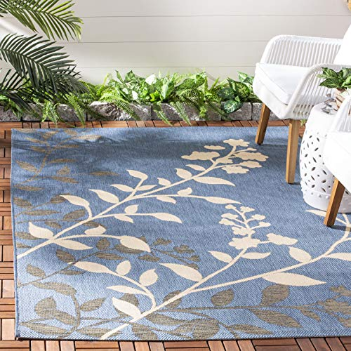 Safavieh Courtyard Collection CY7019-243 Blue and Beige Indoor/ Outdoor Area Rug (6'7