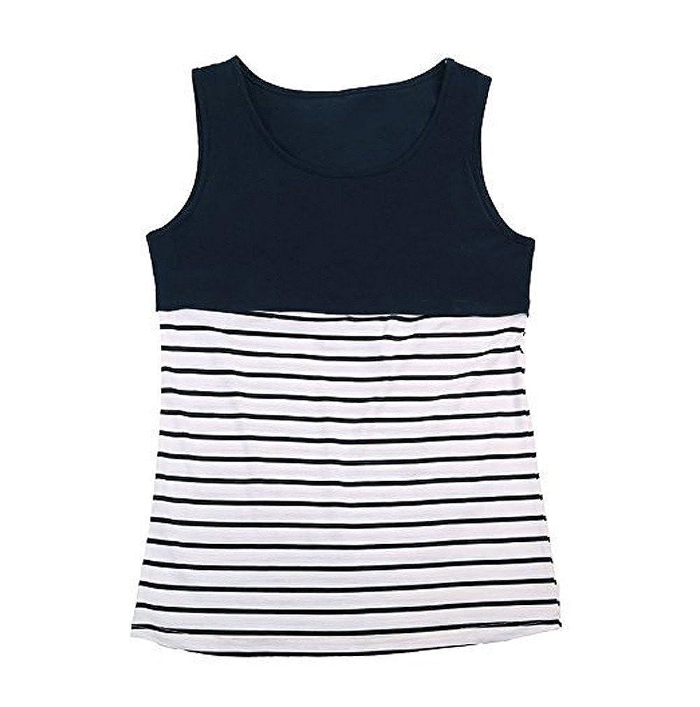 Chaleco de Mujer Camiseta Sin Mangas Estampado de Rayas Color ...