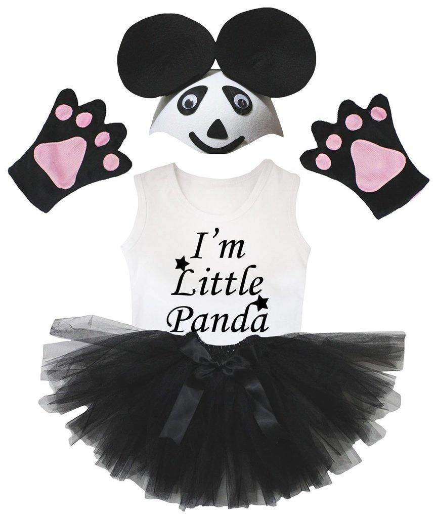 Petitebelle Estoy Poco Panda del Sombrero Negro Guante de la falda del traje de la muchacha de 4 piezas 1-2 años Blanco negro