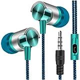 Universal 3,5 mm Im Ohr Stereo Ohrhörer Kopfhörer Mit Mic Für Handy Hirolan für Samsung, für Xiaomi, für iPhone und andere Smartphones mit 3,5-mm-Audiobuchse (Blau)