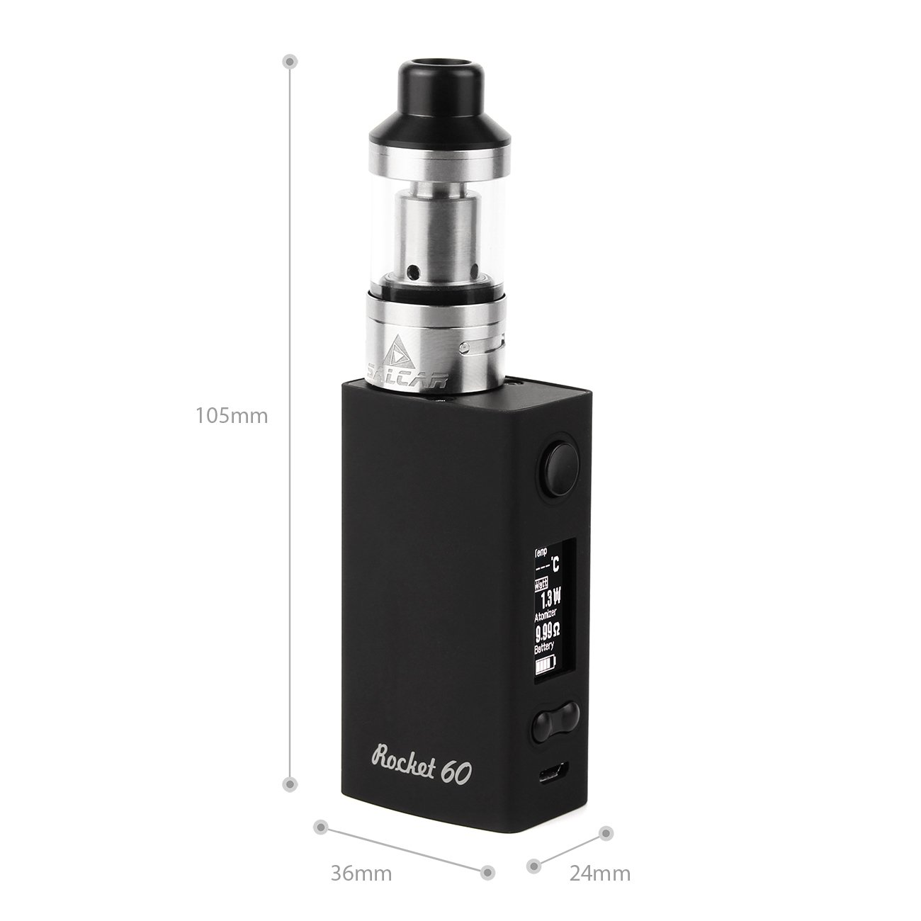 Salcar Rocket 60 Mod Kit de iniciación de Cigarrillo Electrónico 60w, Vaporizador de 0.3ohm/2ml, batería incorporada de 2000mAh, 0,00 mg Nicotina (nergo): ...