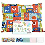 Toddler Pillowcase by Dreamtown Kids, 100% GOTS Certified Organic Cotton, Envelope Style, Hypoallergenic and Handcrafted with Care in the USA! (Alphabet Farm)