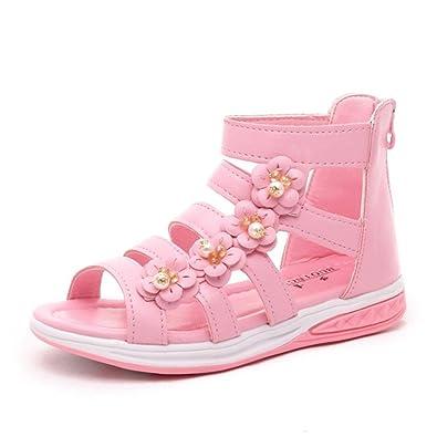510919de9347dd CYBLING Girls Flower High Top Zipper Casual Summer Beach Strappy Gladiator  Sandals (Toddler Little