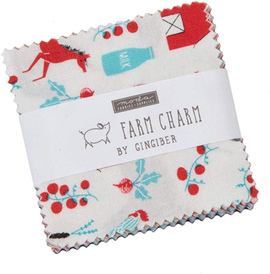Farm Charm Mini Charm Pack by Gingiber; 42-2.5 Inch Precut Fabric Quilt Squares