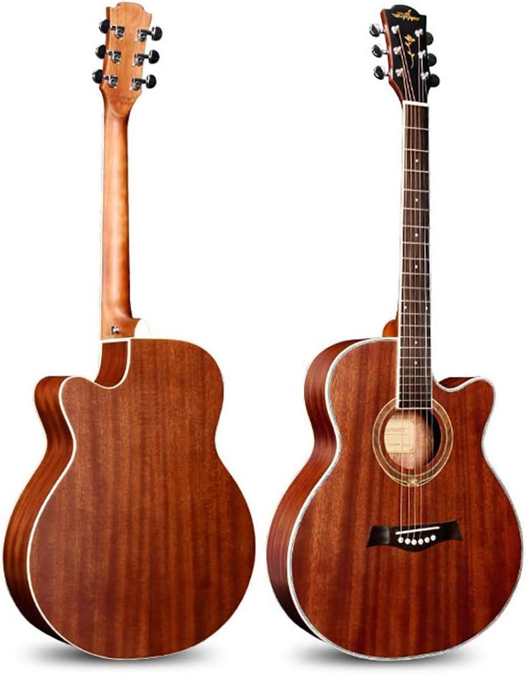 BLKykll Guitarra Acústica,Adecuada para Viajar, Color Madera Natural Guitarra Acústica De 41 Pulgadas Folk Plywood Cutaway Adecuado para Jugar Personales De Viaje