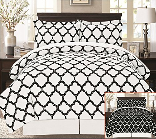 Livingston Home Supper Soft 8 Piece Bed in a Bag Fretwork Comforter Set, Black/White, Queen,