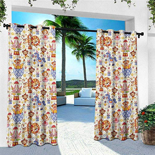 leinuoyi Kids, Outdoor Curtain Ties, Carnival Circus Theme with Cheerful Mascots Monkey Lion Bunny Acrobat Girl and Clown, Outdoor Curtain Panels for Patio Waterproof W108 x L96 Inch Multicolor
