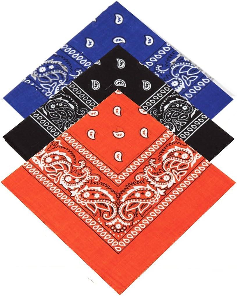 Royal Blue,Black,Orange Neckerchief Pack of 3 X High Quality Paisley Bandana Headbands for Women Neck Scarf Handkerchief Girls,Men /& Boys 100/% Cotton Bandana Headscarf Head Tie