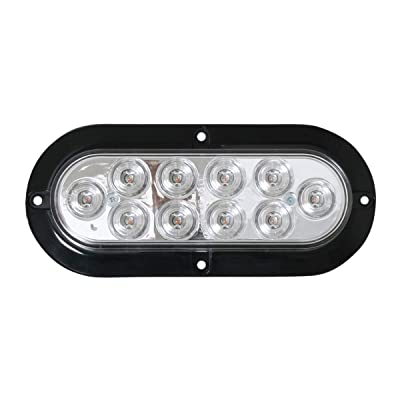 Grand General 77434 LED Light (Mega 10 Plus Oval White with Black Flange and 2 Wires), 1 Pack: Automotive