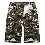 iZHH Men's Casual Camouflage Outdoors Pocket Beach Work Cargo Shorts Pant(Army Green,38)
