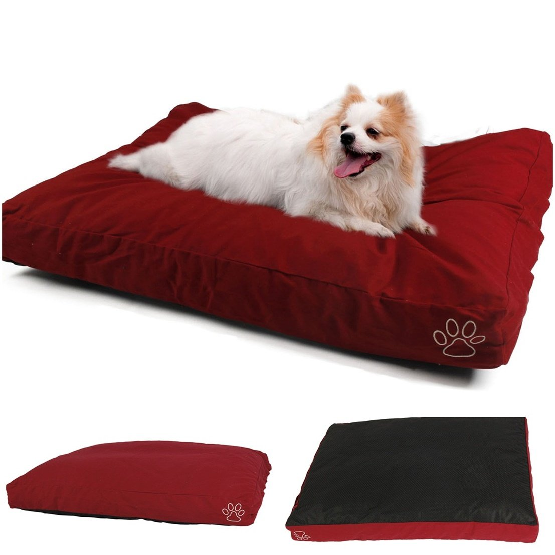 1Pcs Ornate Popular Pet Bed Cover Size L 36'' x 29'' Cat Pillow Replacement Large Mat Color Type Red Cotton