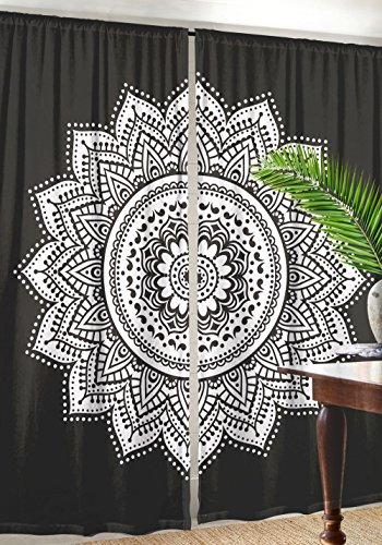 - Labhanshi Black White Ombre Mandala Window Door Cover Curtain Hanging Drape Portiere