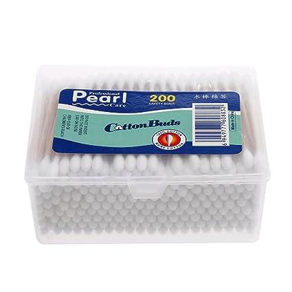 200pcs/Case algodón Toallitas de bastoncillos de algodón con punta de doble crabstick para maquillaje