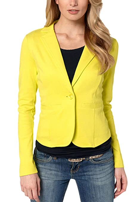 Yisaesa Blazer de Trabajo básico de un botón de algodón Casual para Mujer Abrigos (Color