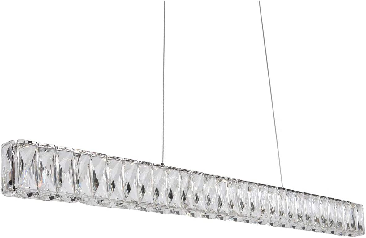 Kuzco Lighting LP7839 4000K Linear Led Pendant with Exquisite Diamond Cut Clear Crystals