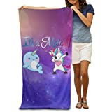 It's A Match Narwhal And Rainbow Unicorn Adults Beach Towel 80x130 Inches