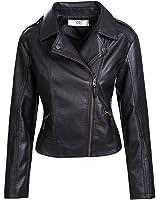 Artfasion Women's Slim Tailoring Faux Leather PU Short Jacket Coat