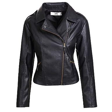 8105a849b48 Artfasion Womens Slim Tailoring Faux Leather PU Short Jacket Coat Moto  Biker Jacket Black