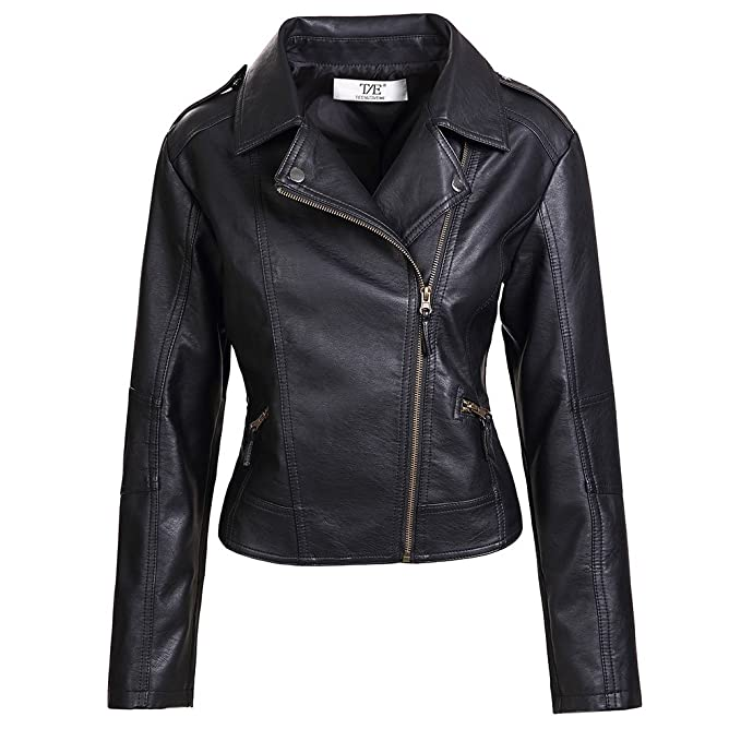 8228f15af Artfasion Womens Slim Tailoring Faux Leather PU Short Jacket Coat Moto  Biker Jacket