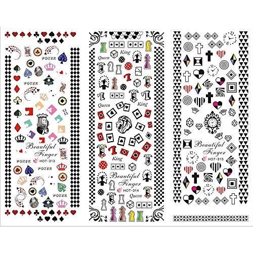 3 Packs/LOT Cartoon Poker Sweet Heart Crown Nail Cross Tattoos Sticker Water Decal Nail Art HOT313-315]()