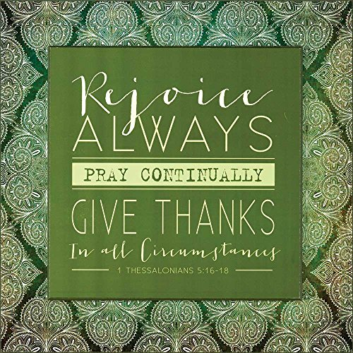 Rejoice Always Hunter Green Mandala Wood Wall Sign Plaque