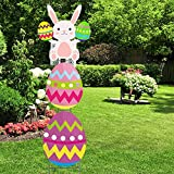 Six Senses Media Easter Bunny & Egg Party Yard Signs,Corrugated Signs Multicolored for Yard Outdoor Lawn Party Decoration,Printed 2 Sided Yard Sign with Stake Set of 3