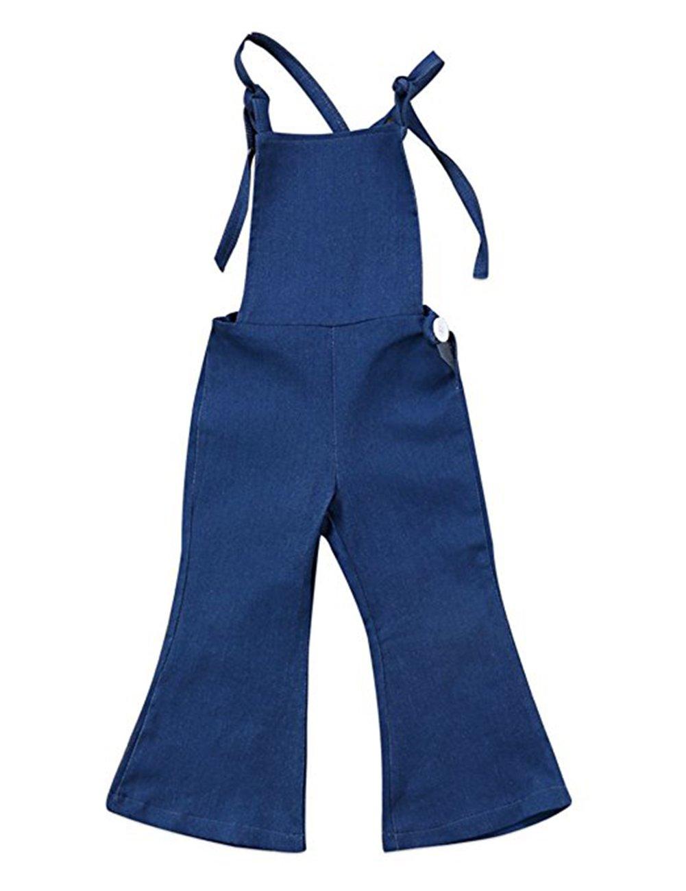 KONIGHT Baby Girls Little Kids Suspender Overall Flared Denim Jeans Jumpsuit Bell Elastic Blue Pants (Blue, 3-4Years)