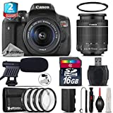 Canon EOS Rebel T6i DSLR Camera with 18-55mm Lens + 2yr Extended Warranty + 16GB Class 10 + Macro Filter Kit + Cleaning Kit + UV Filter + Cleaning Brush + Card Reader - International Version