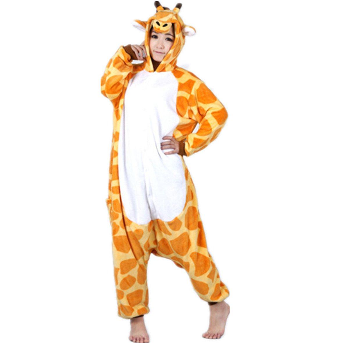 Autek, tuta, travestimento da animale, unisex, con cappuccio, costume, pigiama (PJ-20) giraffa S WE-143
