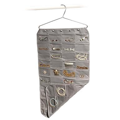 Amazoncom Gray 80 Pocket Hanging Jewelry Organizer Clothing