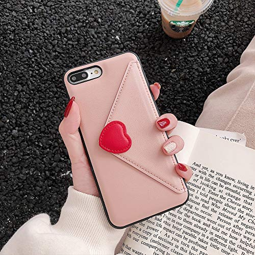 Maxlight for iPhone XR XS MAX 7 8 Plus Fashion Simple Wallet PU Leather Card Slots Phone Cover for iPhone XR Silicon TPU case (Pink, for iPhone 7plus 8plus) (Sena Iphone 4s Leather Case)