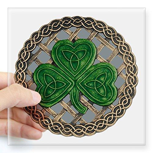 CafePress - Shamrock And Celtic Knots Sticker - Square Bumper Sticker Car Decal, 3