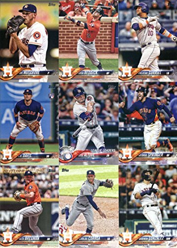 2018 Topps Complete (Series 1, 2, Update) Houston Astros Team Set of 38 Cards: Carlos Correa(#30), Alex Bregman(#39), Jake Marisnick(#128), George Springer(#154), Alex Bregman(#182), Mike Fiers(#184), Lance McCullers(#212), Marwin Gonzalez(#215), George Springer(#275), Jose Altuve(#294), All Smiles Lift off in Houston (Gurriel, Marisnick)(#298), Josh Reddick(#309), Yulieski Gurriel(#311), George Springer(#329), Joe Musgrove(#333), plus more