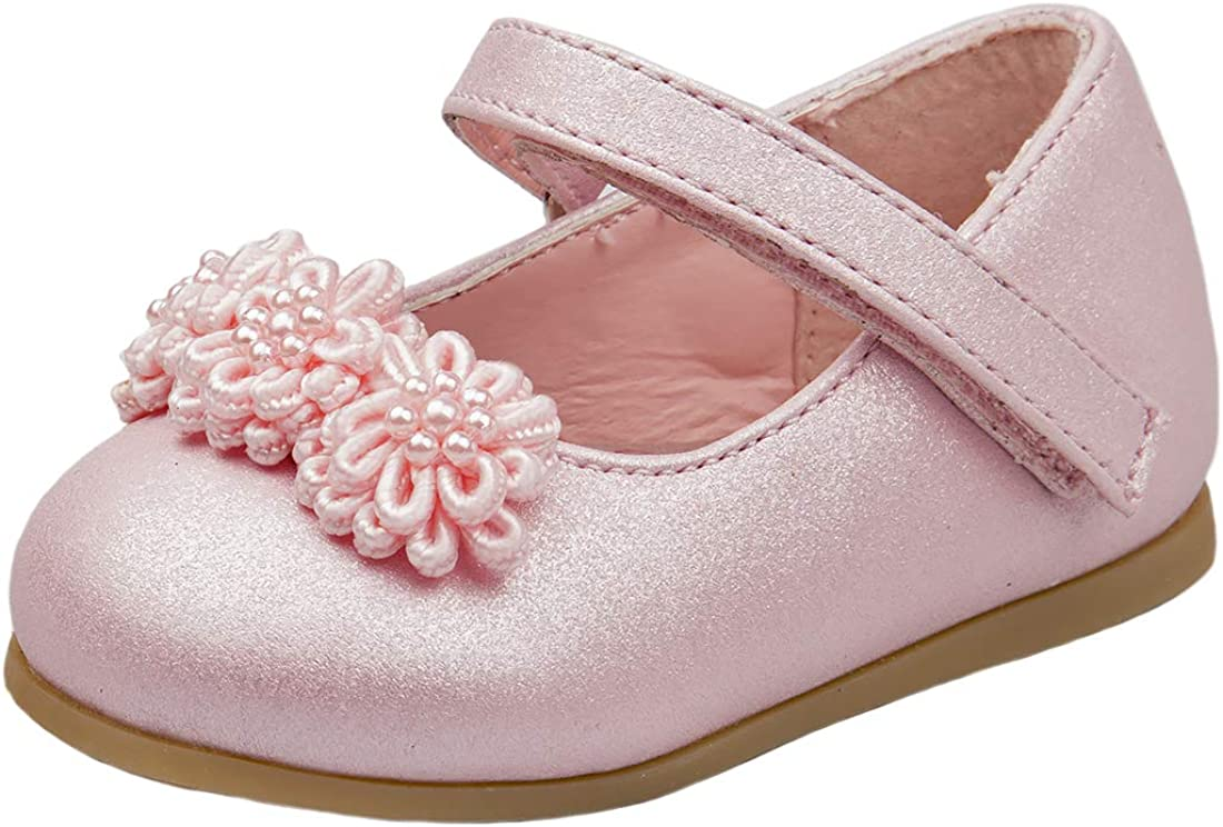JOSMO Baby Girls Patent Dressy Shoe with Chiffon Flower Infant, Toddler