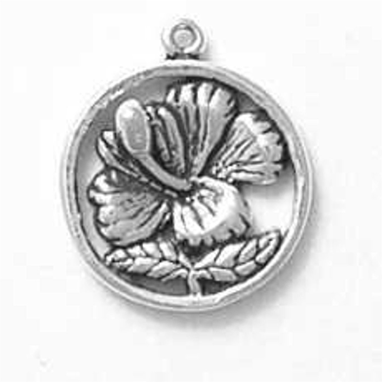 Sterling Silver Girls .8mm Box Chain Hawaii Bloomed Hibiscus Flower Disc Pendant Necklace
