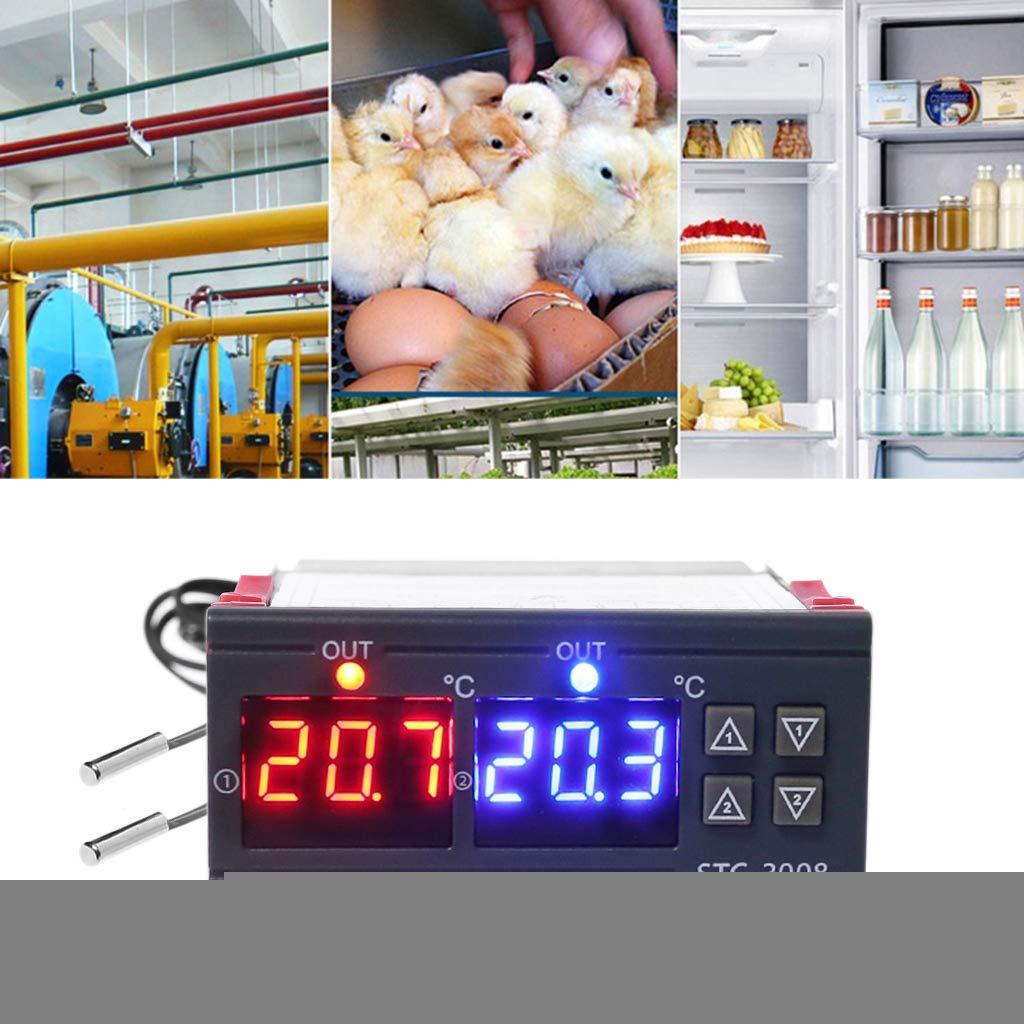 Xineker - Controlador de Temperatura Digital Doble termostato de calefacción de refrigeración 10 A AC 110 V 220 V CC 12 V 24 V para Calentador de Agua ...