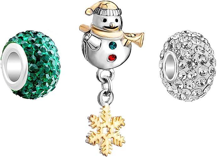 JMQJewelry Christmas Snowman Birthstone Dangle Crystal Charms Beads for Bracelets for Women Girls Jewelry