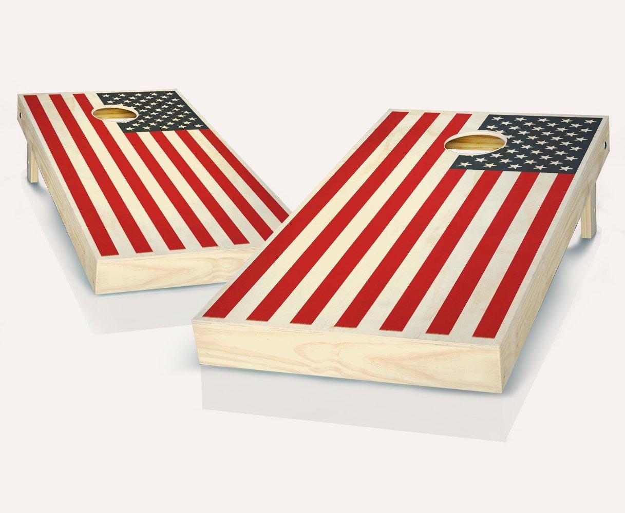 2色アメリカ国旗Stained Cornhole Boards withのセット8 Cornhole Bags B07BGCQ9YS