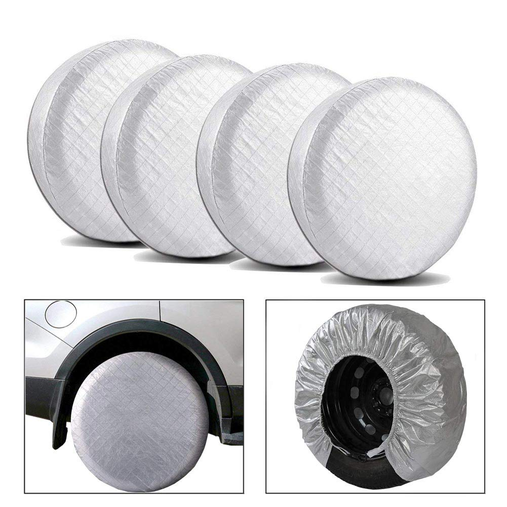 Tire Covers Set of 4 Fits 27 to 29 Tire Diameters Fits 27 to 29 Tire Diameters COROTC Wheel Spare Jeep Rear RV Tire Covers Sun Snow Protectors Waterproof Aluminum Film