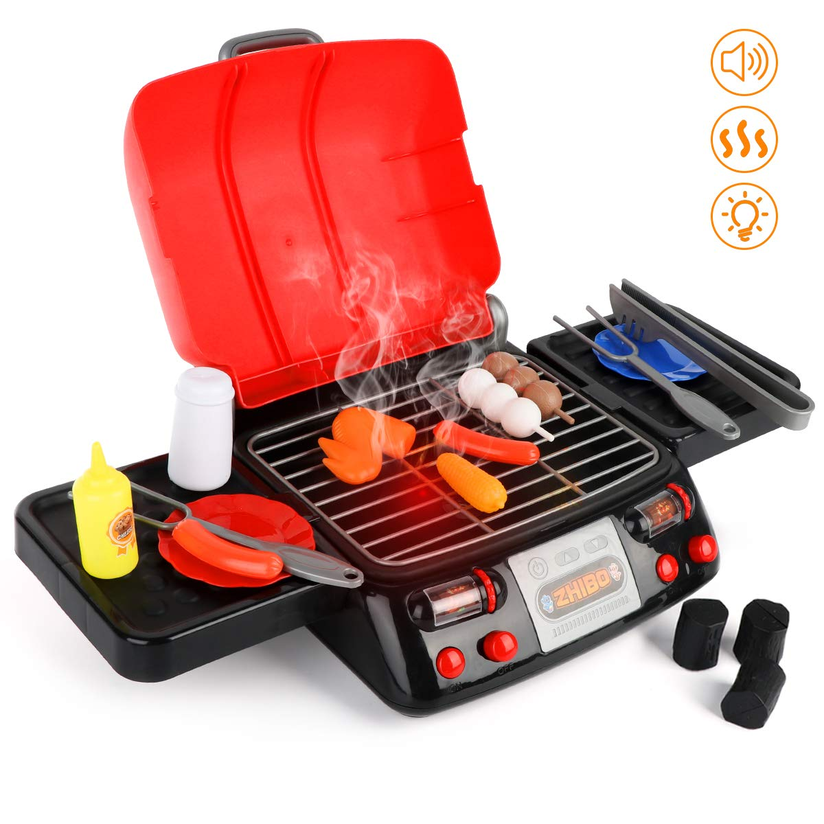 Auggie Kids Play Food Grill with Pretend Smoke Sound Light Kitchen Playset Pretend BBQ Accessories Fine Motor Skills Toy Cooking Gift for Toddlers Children Boys Girls