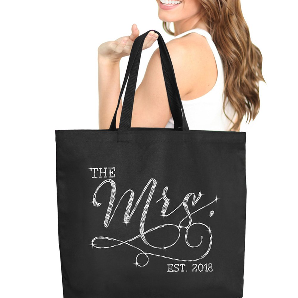 The Mrs. EST 2018 Black Rhinestone Jumbo Canvas Bridal Tote Bag For the Bride to Be - 18'' X 14'' Tote(Mrs 2018 RS) BLK