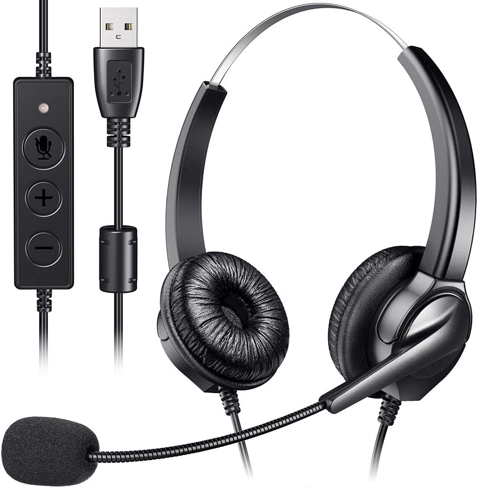 Binaural USB Headset, Yme Business Computer Headphone Stereo Noise Cancelling Earphone with Adjustable Microphone, Volume Control for Mac, Laptop, PC