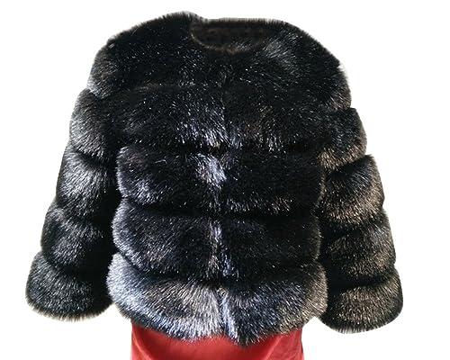 Mujer Fluffy Shaggy Cabo Abrigo Faux Piel Chaquetas Outwear Cardigan Parka