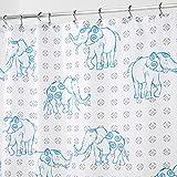 mDesign Elephant Fabric Shower Curtain - 72' x 72', Gray/Blue …