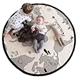 world carpet - Finebaby Baby Crawling Mats World Map Pattern Game Blanket Floor Playmats Animal Early Education Round Carpet Children's Room Decoration Diameter 53'' Beige Yellow
